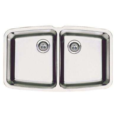 Performa Undermount Stainless Steel 33 in. Medium Equal Double Bowl Kitchen Sink