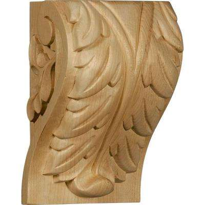 3-3/4 in. x 4-1/2 in. x 7 in. Unfinished Wood Cherry Extra Large Acanthus Leaf Block Corbel