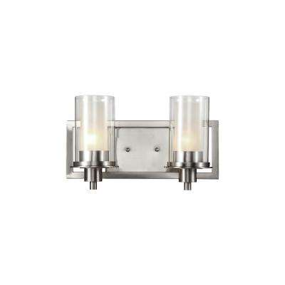 Cabernet Collection 2-Light Brushed Nickel Sconce with Frosted Inner Glass Shade
