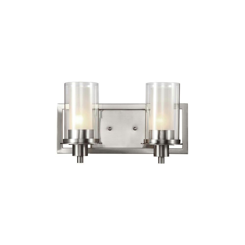 Bel Air Lighting Cabernet Collection 2-Light Brushed Nickel Sconce with Frosted Inner Glass Shade