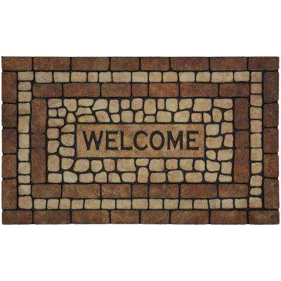 Stone Garden Welcome Brown 1 ft. 6 in. x 2 ft. 6 in. Door Mat