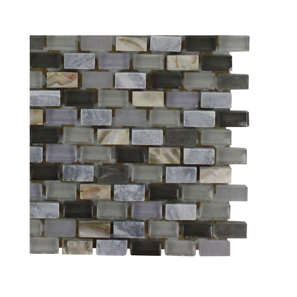 Splashback Tile Paradox Cryptic 3 in. x 6 in. x 8 mm Mixed Materials Mosaic Floor and Wall Tile Sample