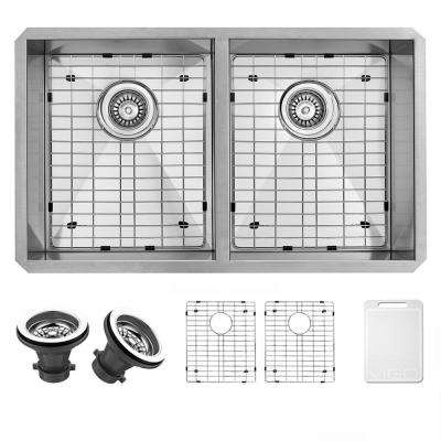 Suffolk Undermount Stainless Steel 32 in. 50/50 Double Bowl Kitchen Sink with Grids, Strainers in Stainless Steel