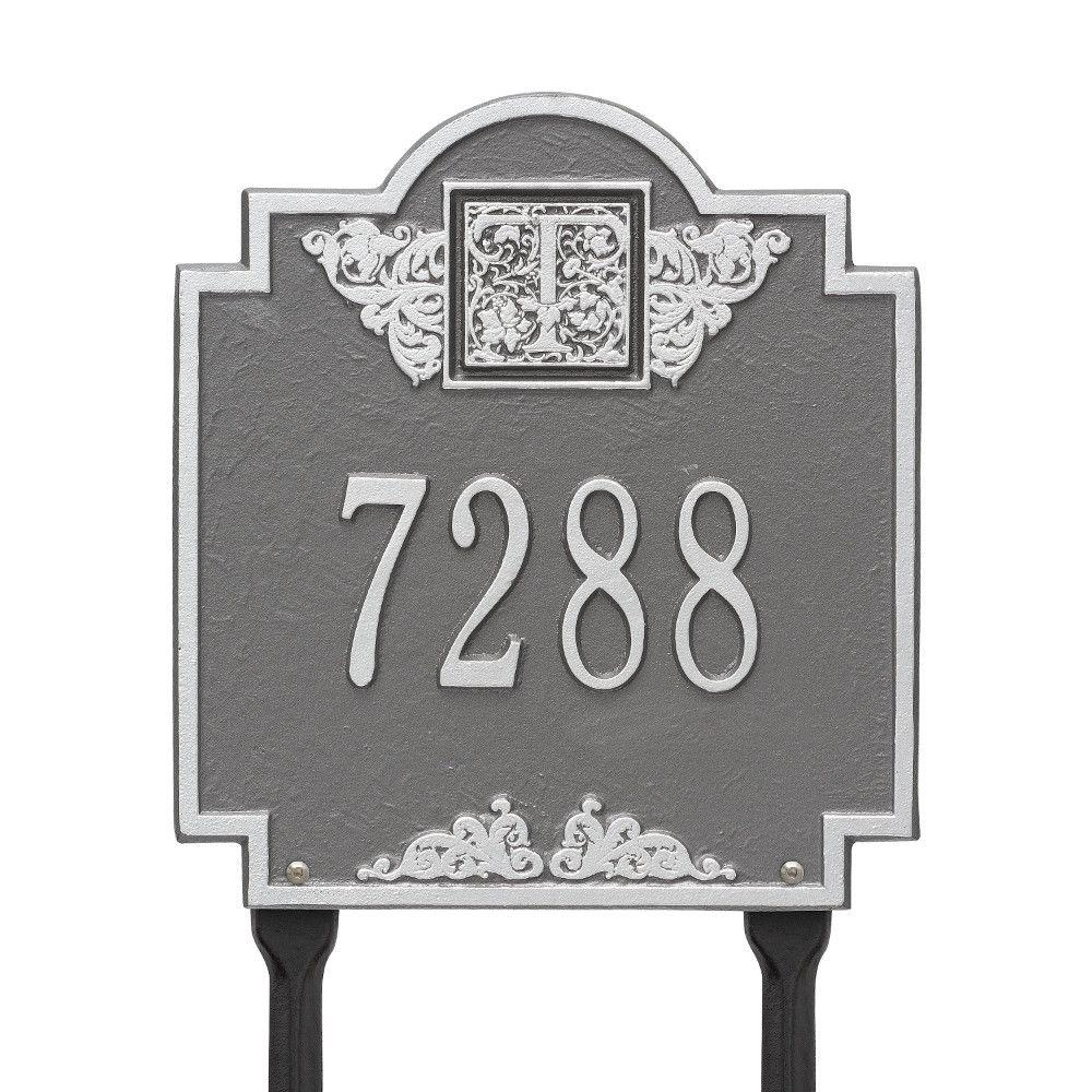 Monogram Standard Lawn Square Pewter/Silver 1-Line Address Plaque