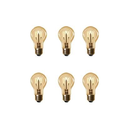 40-Watt Equivalent AT19 Dimmable Amber Glass Vintage Edison LED Light Bulb with H Shape Filament Warm White (6-Pack)