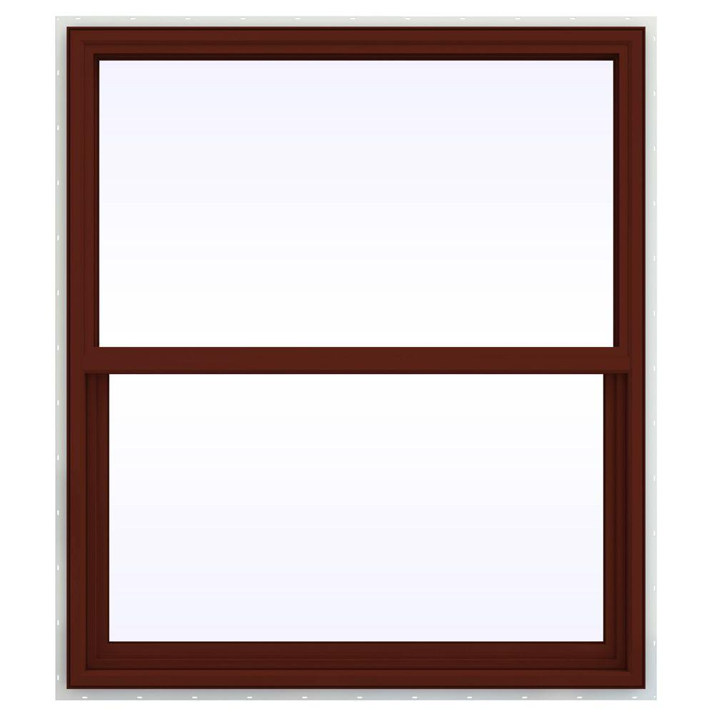 JELD-WEN 41.5 in. x 53.5 in. V-4500 Series Single Hung Vinyl Window - Red