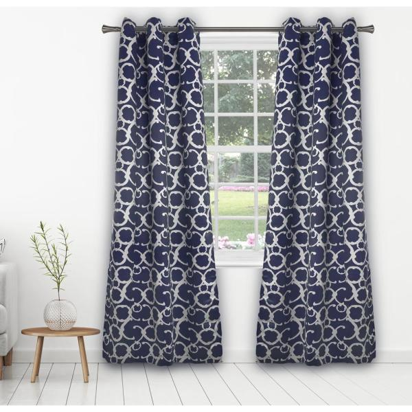 Rhys 38 in. x 84 in. L Polyester Blackout Curtain Panel in Indigo (2-Pack)