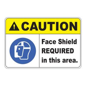 Click here to buy  Rectangular Plastic Caution Face Shield Required Safety Sign.