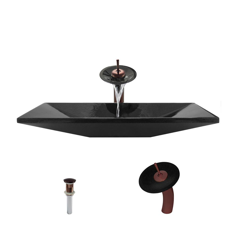 Stone Vessel Sink in Shanxi Black Granite with Waterfall Faucet and