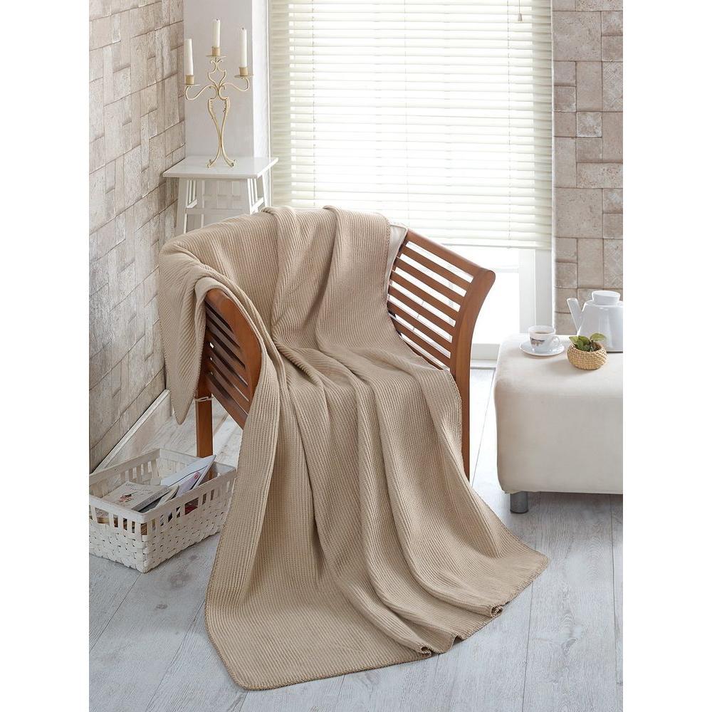 50 in. W x 65 in. L Waffle Beige Solid Soft Cotton Cozy Fleece Blanket