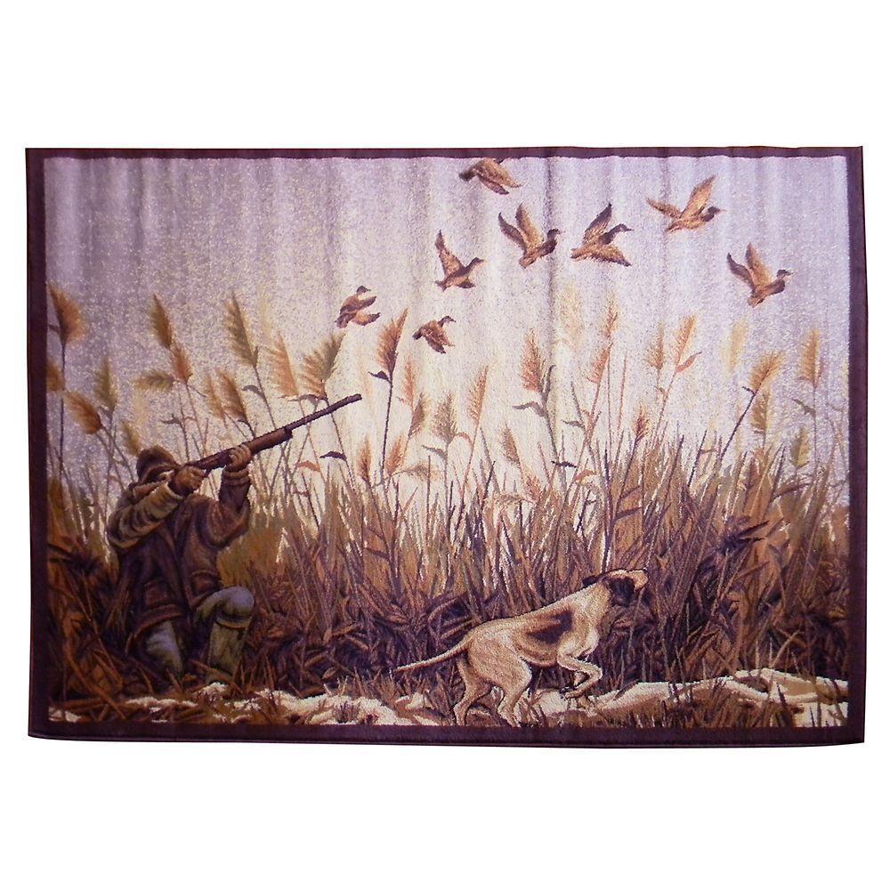 Wilderness Design Beige Duck Hunting Hunter and Hound 5 ft. 2 in. x 7 ft. 1.5 in. Indoor Area Rug