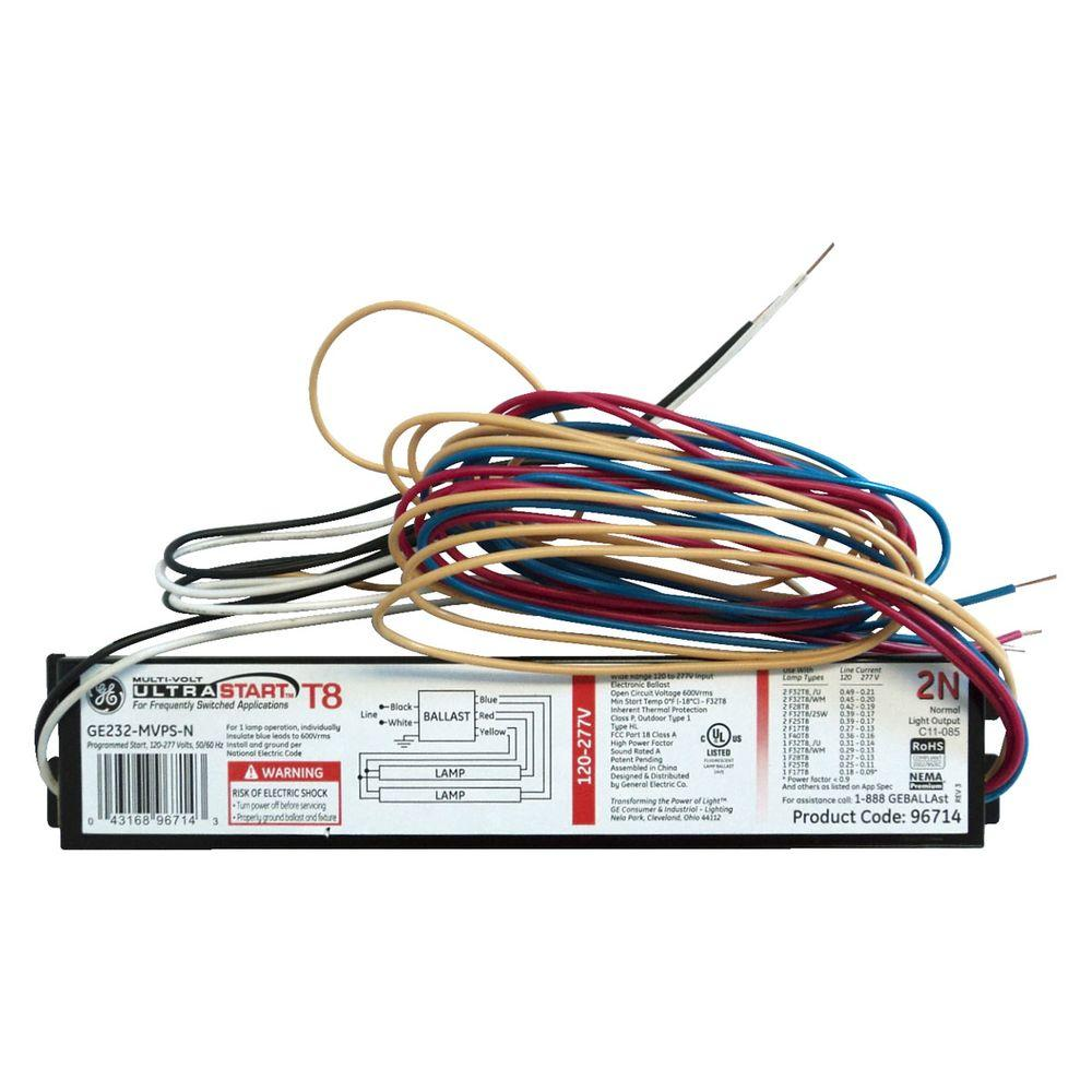 120 to 277-Volt Electronic Program Start Ballast for 2 or 1-Lamp