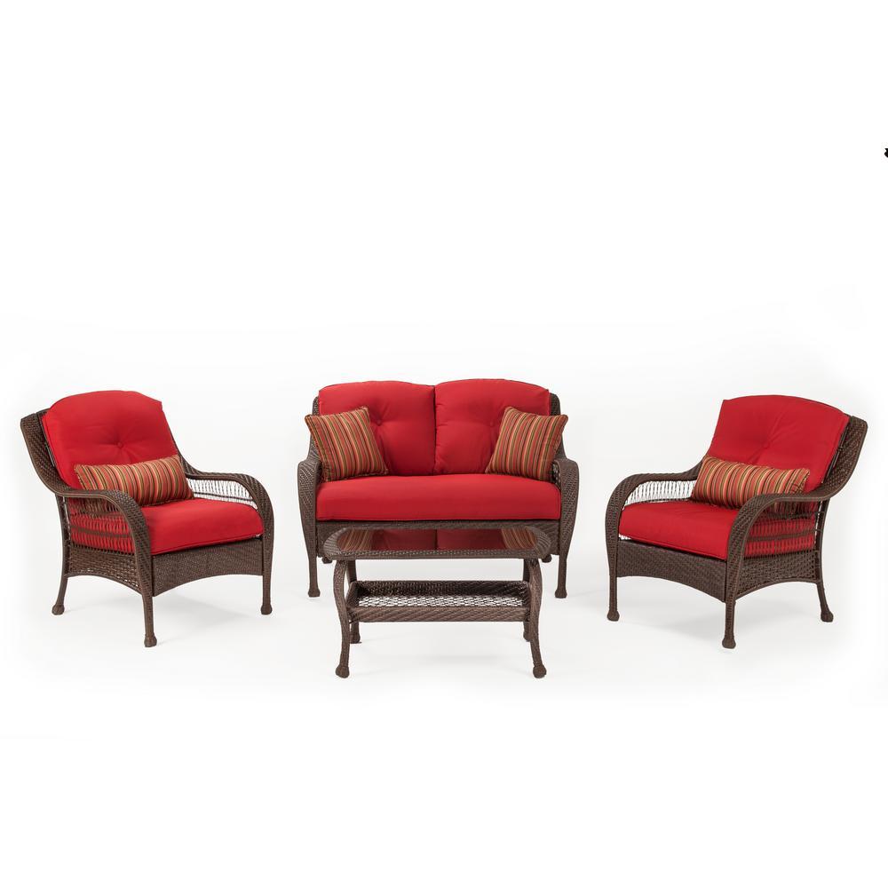 La Bristol Wicker Seating Set Essence Garnet Cushion Product Image