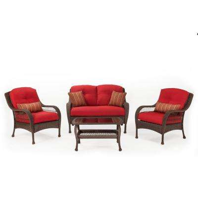 Bristol 4-Piece Wicker Outdoor Seating Set with Essence Garnet Cushion