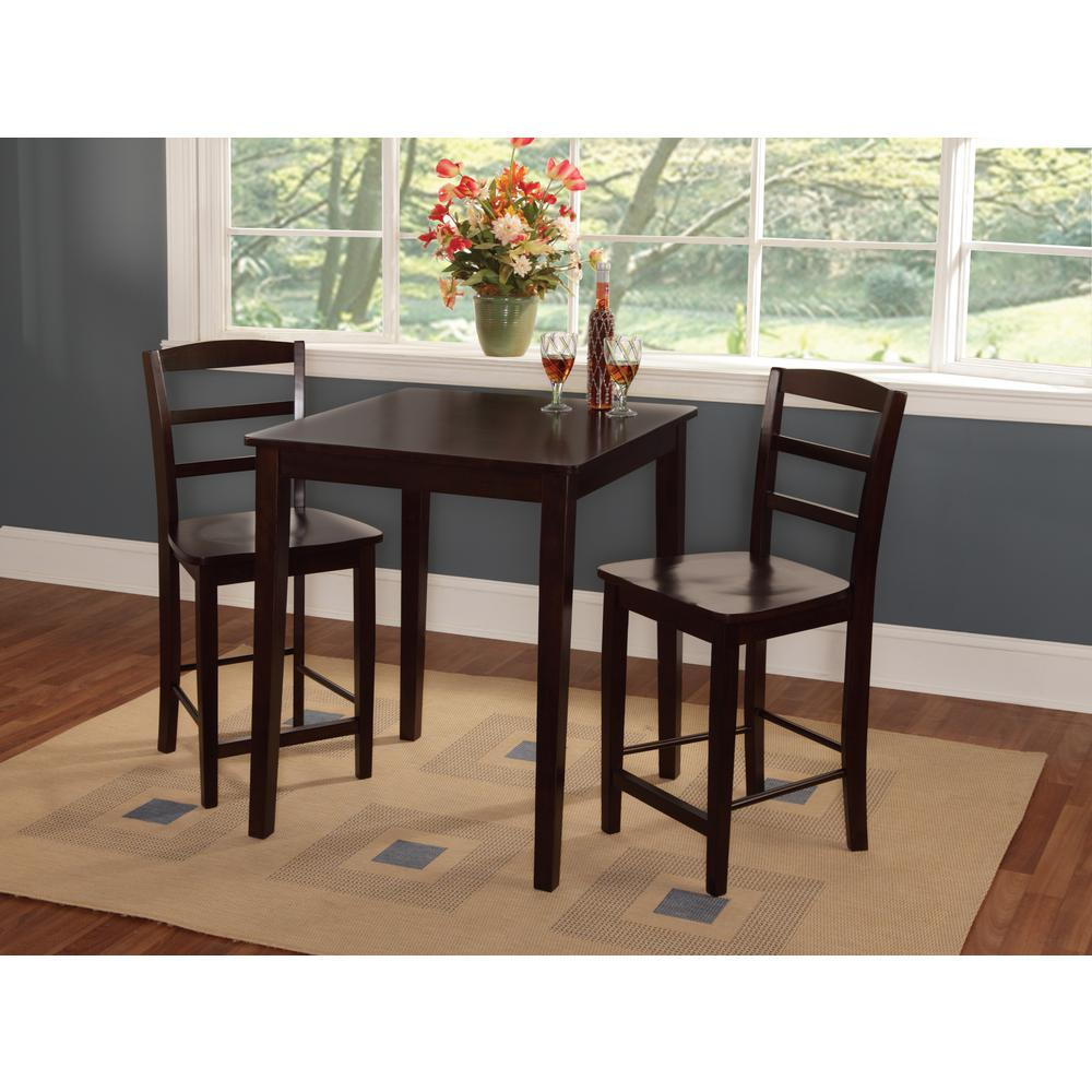 Madrid 3 Piece Mocha Bar Table Set