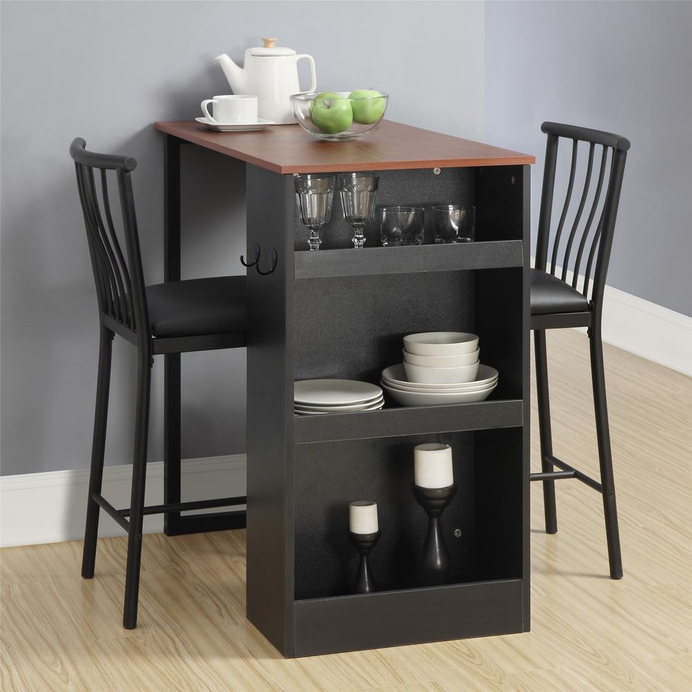 Dorel living 3 piece walnut black counter height bar set