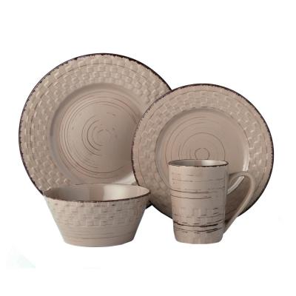 16-Piece Mocca Distressed Weave Dinnerware Set