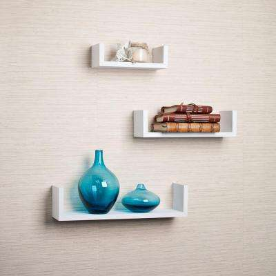 17 in. x 4 in. White Floating 'U' Laminated Shelves (Set of 3)