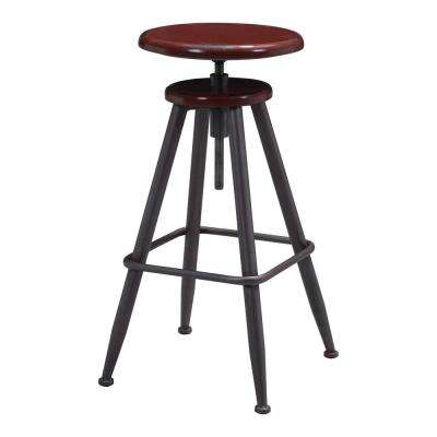 Bog Adjustable Height Distressed Burgundy Bar Stool