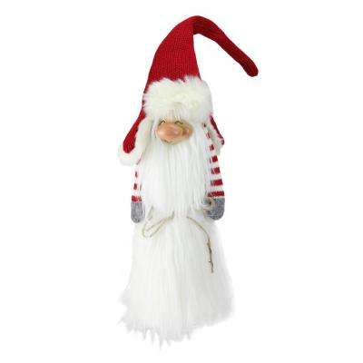 22 in. Traditional Christmas Slim Santa Gnome with White Fur Suit and Red Hat