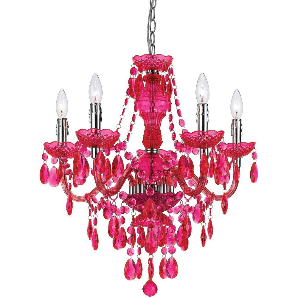 newest 36e7f f8039 AF Lighting Fulton 5-Light Pink Chandelier