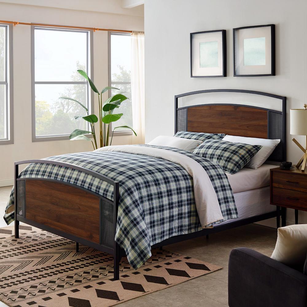 Dark Walnut Queen Panel Bed