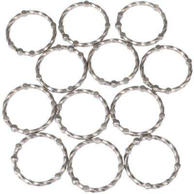 Shower Eternity Curtain Rings in Brushed Nickel (Set of 12)