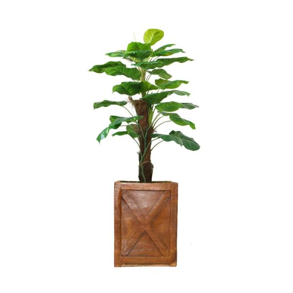 Laura Ashley 57 in. Real touch greenery in Fiberstone Planter VHX144207