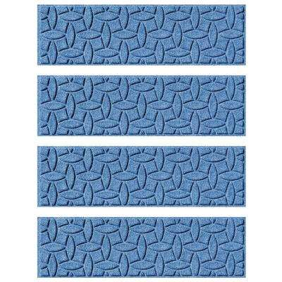 Medium Blue 8.5 in. x 30 in. Ellipse Stair Tread Cover (Set of 4)