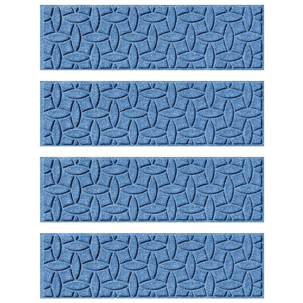 Medium Blue 8.5 in. x 30 in. Ellipse Stair Tread (Set of 4)