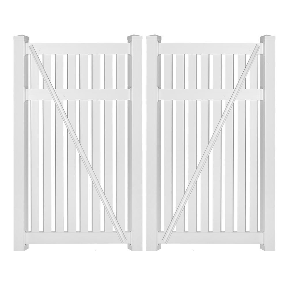 Crestview 8 ft. W x 5 ft. H White Vinyl Pool Fence Double Gate