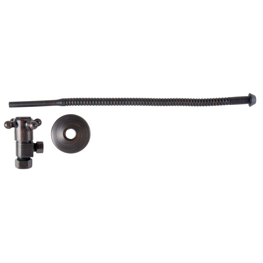 null 3/8 in. O.D x 15 in. Copper Corrugated Toilet Supply Lines with Cross Handle Shutoff Valves in Venetian Bronze