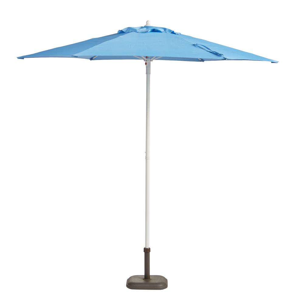 Superbe Steel Patio Umbrella In Periwinkle With White Pole