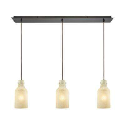 Weatherly 3-Light Linear Pan in Oil Rubbed Bronze with Chalky Beige Glass Pendant