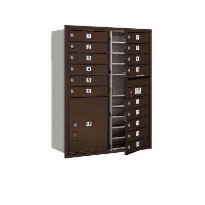 41 in. H x 31-1/8 in. W Bronze Front Loading 4C Horizontal Mailbox with 15 MB1 Doors/1 PL5