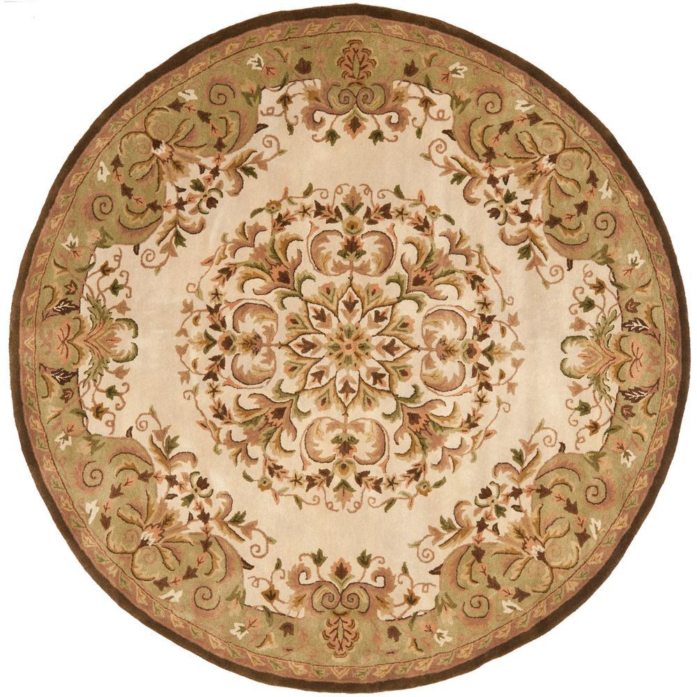 safavieh heritage beige green 8 ft x 8 ft round area rug hg640a 8r the home depot. Black Bedroom Furniture Sets. Home Design Ideas