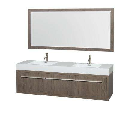 Axa 72 in. Double Vanity in Gray Oak with Acrylic Resin Vanity Top in White, Integrated Sinks and 70 in. Mirror