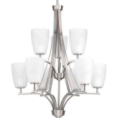Leap Collection 9-light Brushed Nickel Chandelier with Etched Glass Shade
