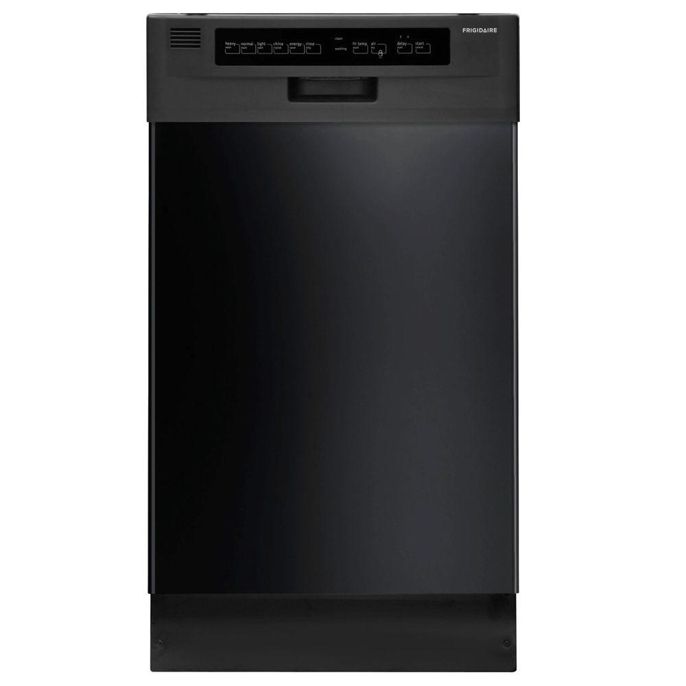 Frigidaire 18 in. Front Control Dishwasher in Black with Stainless Steel Tub, Energy Star, 55 dBA This Frigidaire 18 in. built-in dishwasher features 10 place settings that allow you to wash more at once. With 6 wash cycles, it can handle all your loads, from small plates to large pots and pans. The dishwasher features a durable, long lasting stainless steel interior. Color: Black.