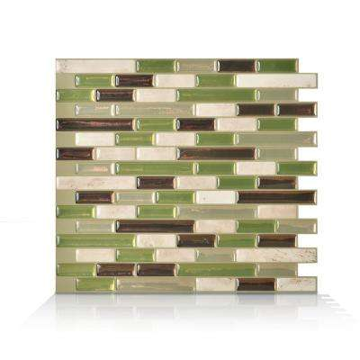Muretto Eco Green 10.20 in. W x 9.10 in. H Peel and Stick Self-Adhesive Decorative Mosaic Wall Tile Backsplash (6-Pack)