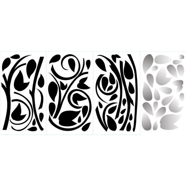 RoomMates Black /& Silver Scroll Branch Foil Leaves Peel and Stick Wall Decal