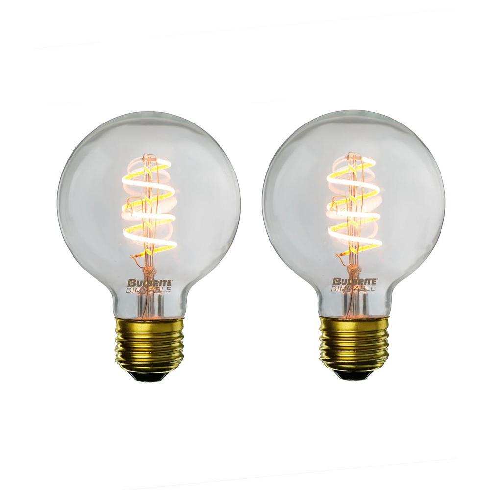 40W Equivalent Amber Light G25 Dimmable LED Curved Filament Nostalgic Light Bulb (2-Pack)