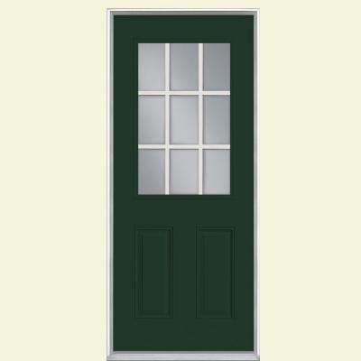32 in. x 80 in. 9 Lite Conifer Right-Hand Inswing Painted Smooth Fiberglass Prehung Front Door with No Brickmold