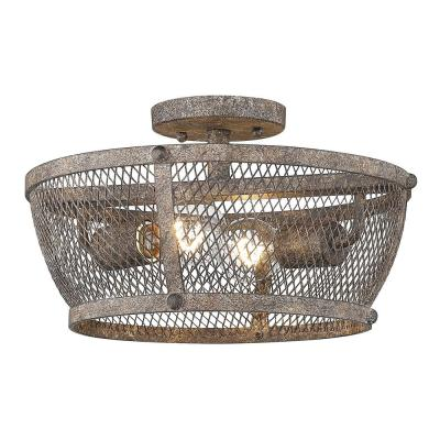 Calgary 13.875 in. 2-Light Pebbled Rust Semi-Flush Mount