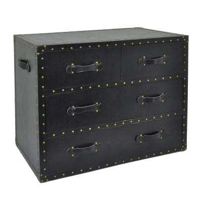29 in. Black 4-Drawers Chest