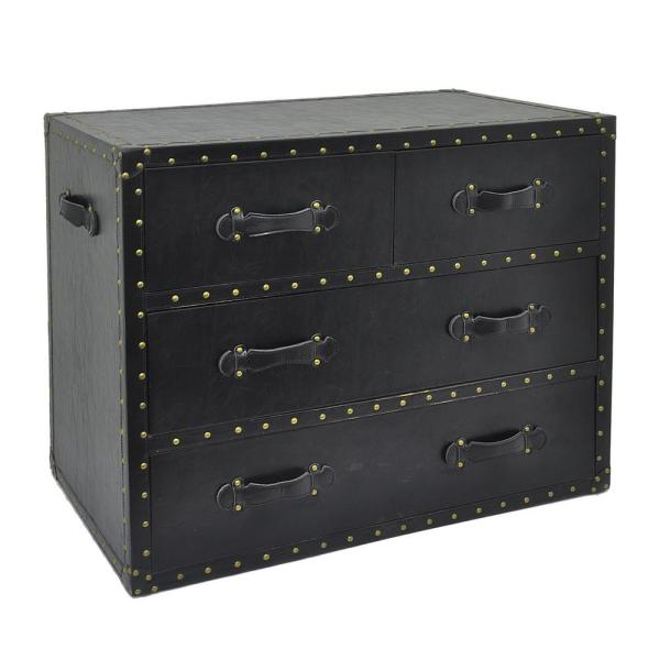 THREE HANDS 29 in. Black 4-Drawers Chest
