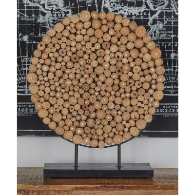 Round Teak Wood Stump Sculpture