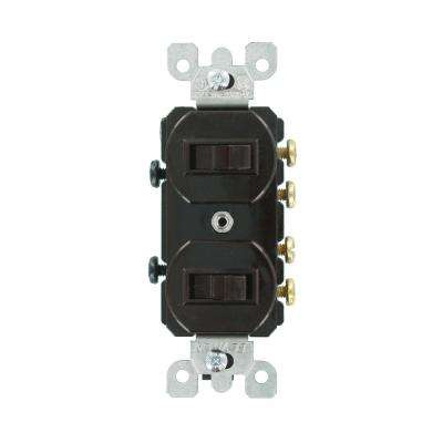 15 Amp Commercial Grade Combination Two 3-Way Toggle Switches, Brown