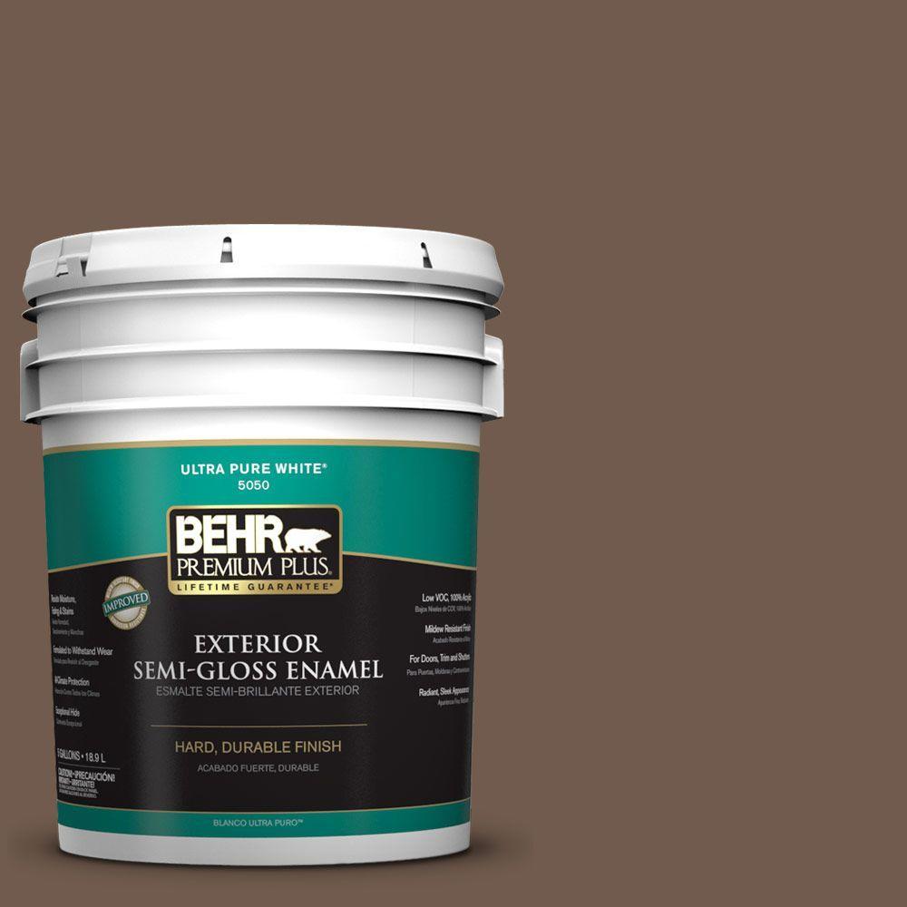 BEHR Premium Plus 5-gal. #PPF-52 Rich Brown Semi-Gloss Enamel Exterior Paint