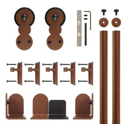 Circles New Age Rust Rolling Door Hardware Kit for 3/4 in. to 1-1/2 in. Door